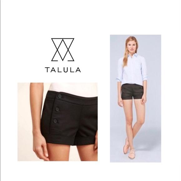 NWT TALULA Black Cotton Sateen Sailor Shorts